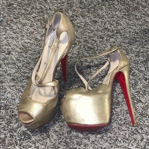 Gold, red bottom, Christian Louboutin's.